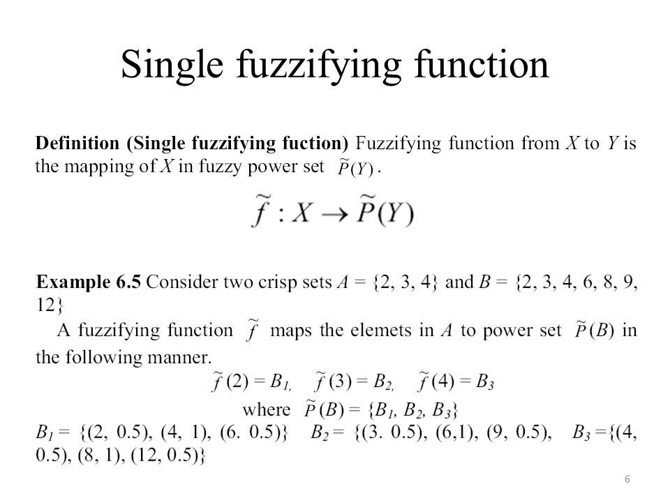 Single fuzzifying function 6