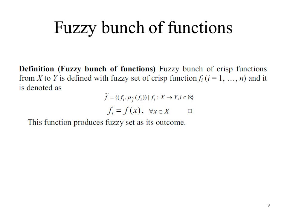 Fuzzy bunch of functions 9