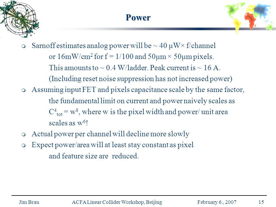 Jim Brau ACFA Linear Collider Workshop, Beijing February 6, 200715 Power   Sarnoff estimates analog power will be ~ 40 μW× f/channel or 16mW/cm 2 for f = 1/100 and 50μm × 50μm pixels.