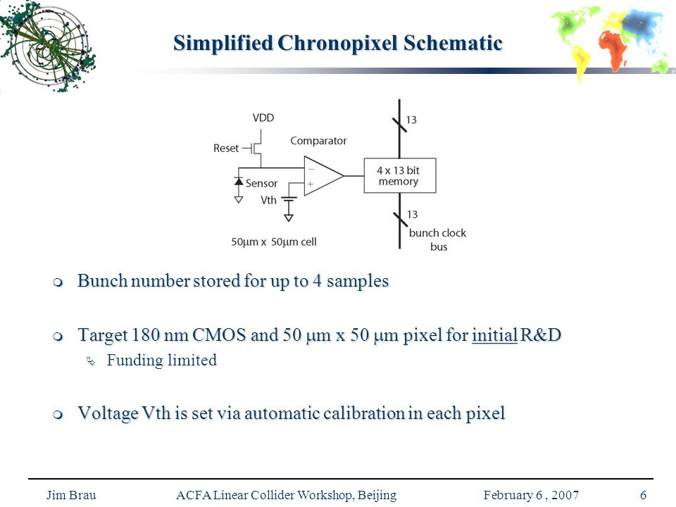 Jim Brau ACFA Linear Collider Workshop, Beijing February 6, 20076 Simplified Chronopixel Schematic  Bunch number stored for up to 4 samples  Target 180 nm CMOS and 50  m x 50  m pixel for initial R&D  Funding limited  Voltage Vth is set via automatic calibration in each pixel