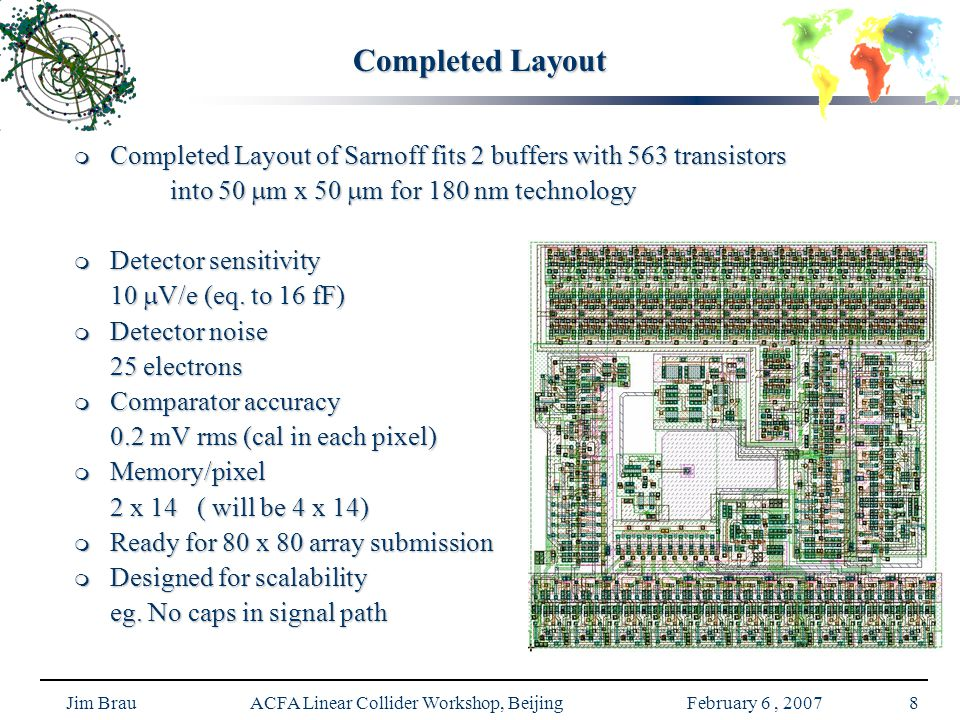 Jim Brau ACFA Linear Collider Workshop, Beijing February 6, 20078 Completed Layout  Completed Layout of Sarnoff fits 2 buffers with 563 transistors into 50  m x 50  m for 180 nm technology  Detector sensitivity 10  V/e (eq.