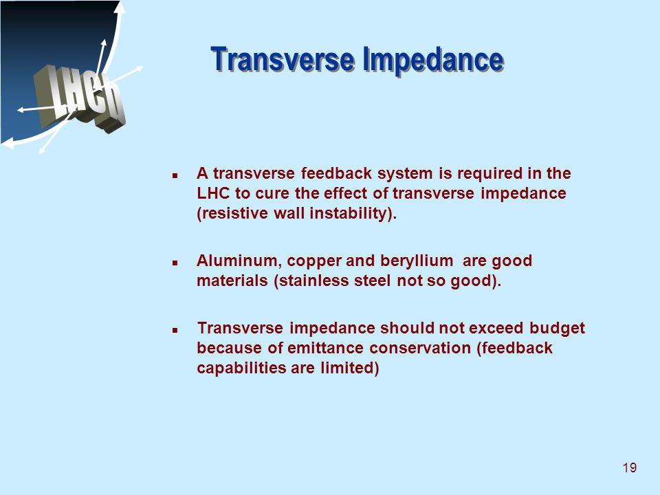 19 Transverse Impedance n A transverse feedback system is required in the LHC to cure the effect of transverse impedance (resistive wall instability).