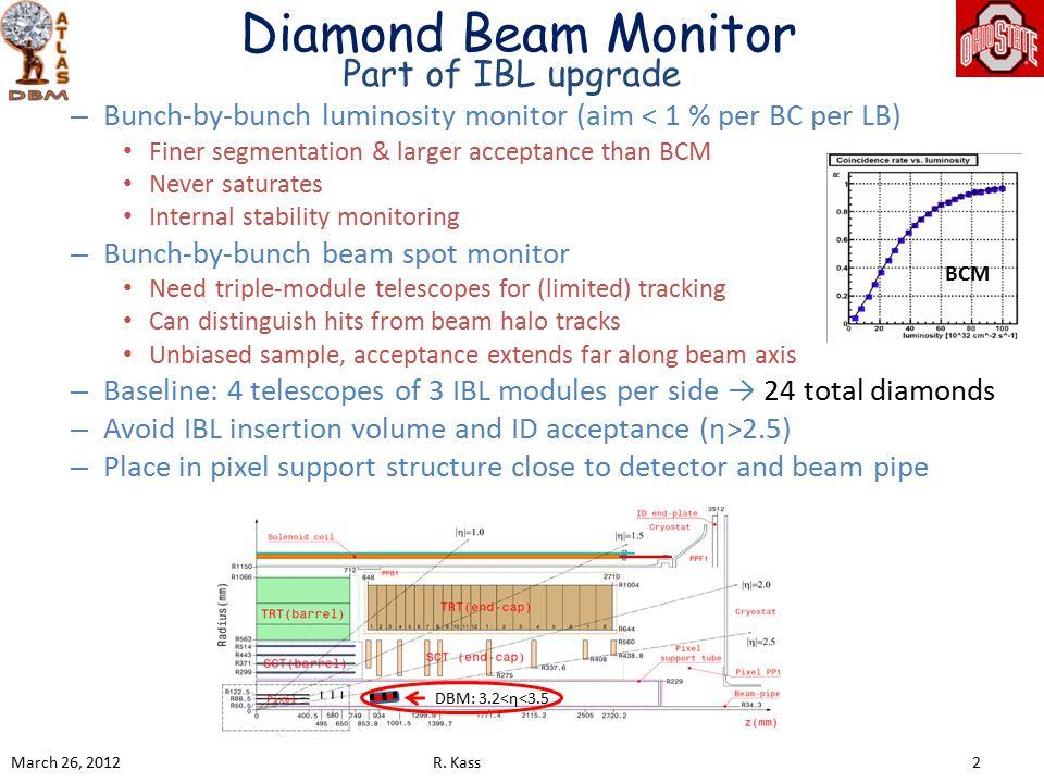 DBM Diamond Sensor Plan Two diamond suppliers involved: DDL/E6 (UK based) II-VI (US based) March 26, 2012R.