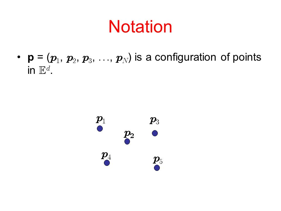 Notation p = (  ,  ,  , ,   ) is a configuration of points in  .