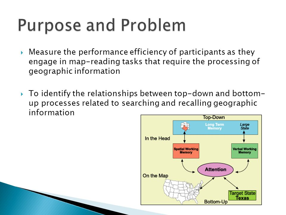  Measure the performance efficiency of participants as they engage in map-reading tasks that require the processing of geographic information  To identify the relationships between top-down and bottom- up processes related to searching and recalling geographic information
