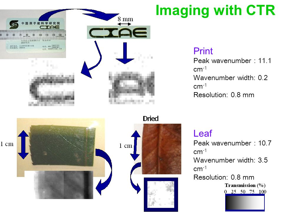 Imaging with CTR Print Peak wavenumber : 11.1 cm -1 Wavenumber width: 0.2 cm -1 Resolution: 0.8 mm Leaf Peak wavenumber : 10.7 cm -1 Wavenumber width: 3.5 cm -1 Resolution: 0.8 mm