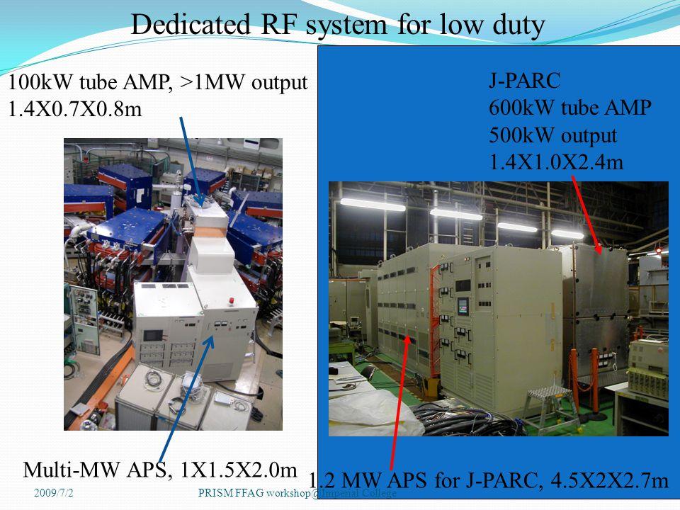 100kW tube AMP, >1MW output 1.4X0.7X0.8m J-PARC 600kW tube AMP 500kW output 1.4X1.0X2.4m Multi-MW APS, 1X1.5X2.0m 1.2 MW APS for J-PARC, 4.5X2X2.7m Dedicated RF system for low duty 2009/7/2PRISM FFAG workshop@Imperial College