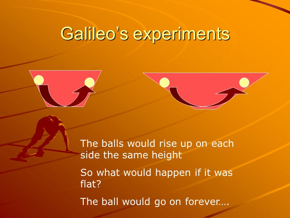 Galileo's experiments The balls would rise up on each side the same height So what would happen if it was flat.