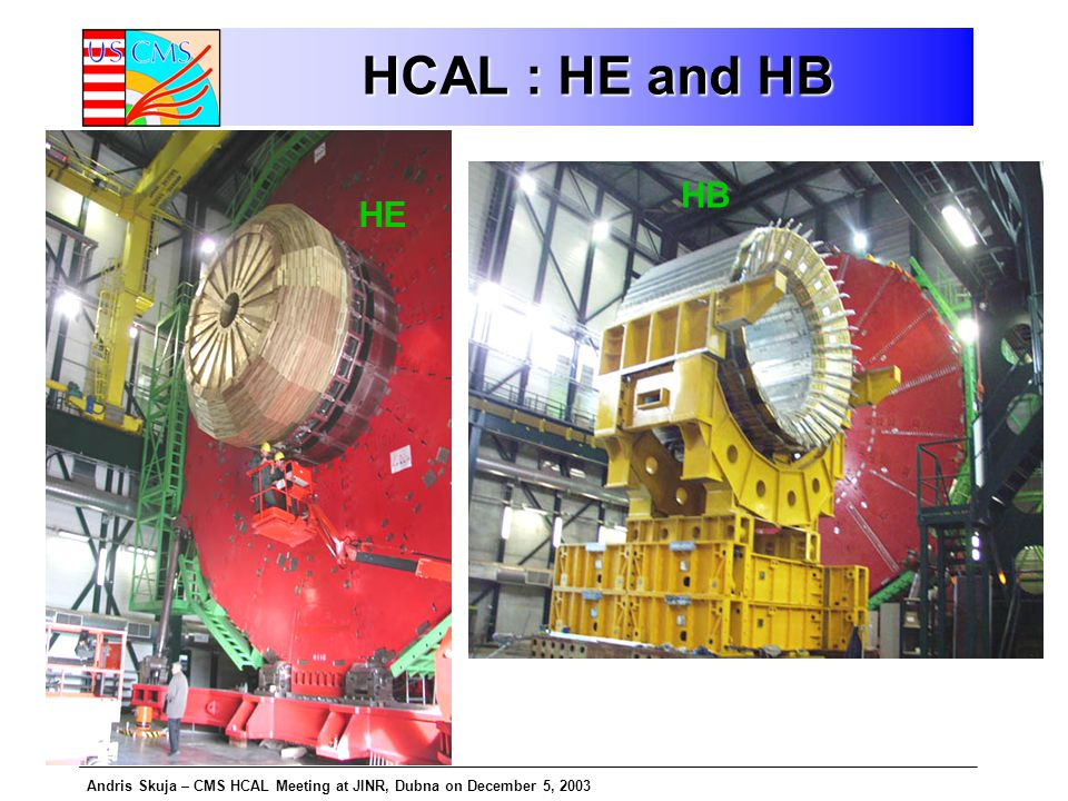 Andris Skuja – CMS HCAL Meeting at JINR, Dubna on December 5, 2003 HCAL : HE and HB HE HB