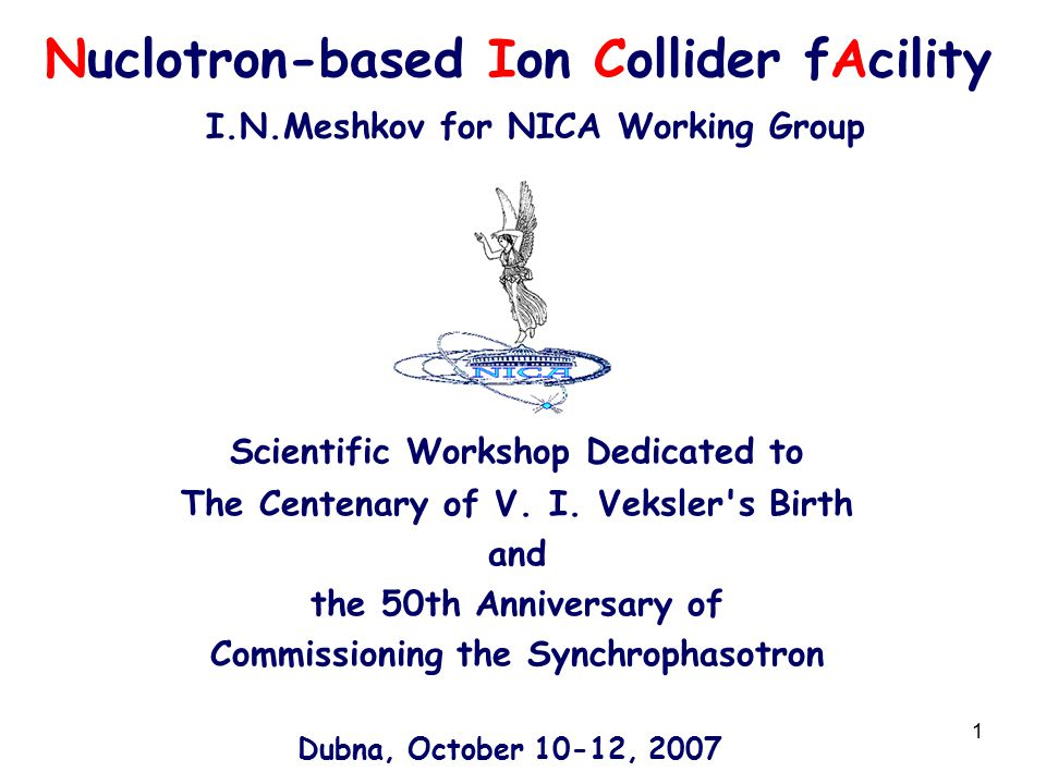 1 Nuclotron-based Ion Collider fAcility I.N.Meshkov for NICA Working Group Scientific Workshop Dedicated to The Centenary of V.