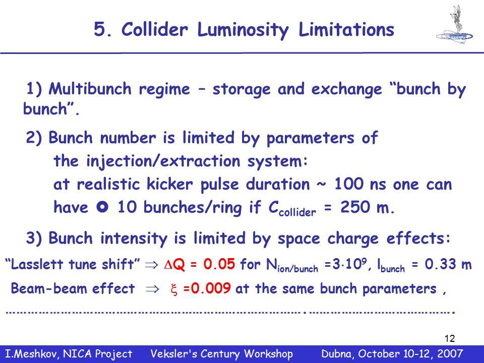 12 5. Collider Luminosity Limitations 1) Multibunch regime – storage and exchange bunch by bunch .