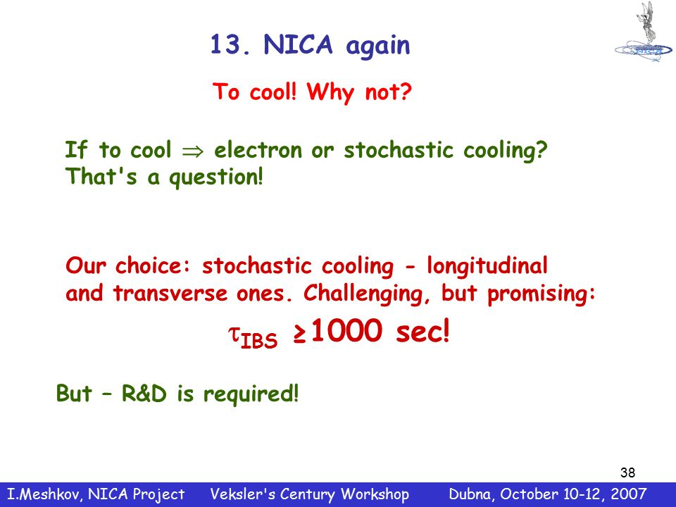 38 13. NICA again Our choice: stochastic cooling - longitudinal and transverse ones.
