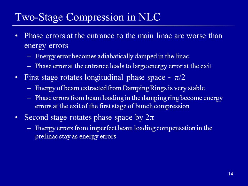 14 Two-Stage Compression in NLC Phase errors at the entrance to the main linac are worse than energy errors –Energy error becomes adiabatically damped in the linac –Phase error at the entrance leads to large energy error at the exit First stage rotates longitudinal phase space ~  /2 –Energy of beam extracted from Damping Rings is very stable –Phase errors from beam loading in the damping ring become energy errors at the exit of the first stage of bunch compression Second stage rotates phase space by 2  –Energy errors from imperfect beam loading compensation in the prelinac stay as energy errors