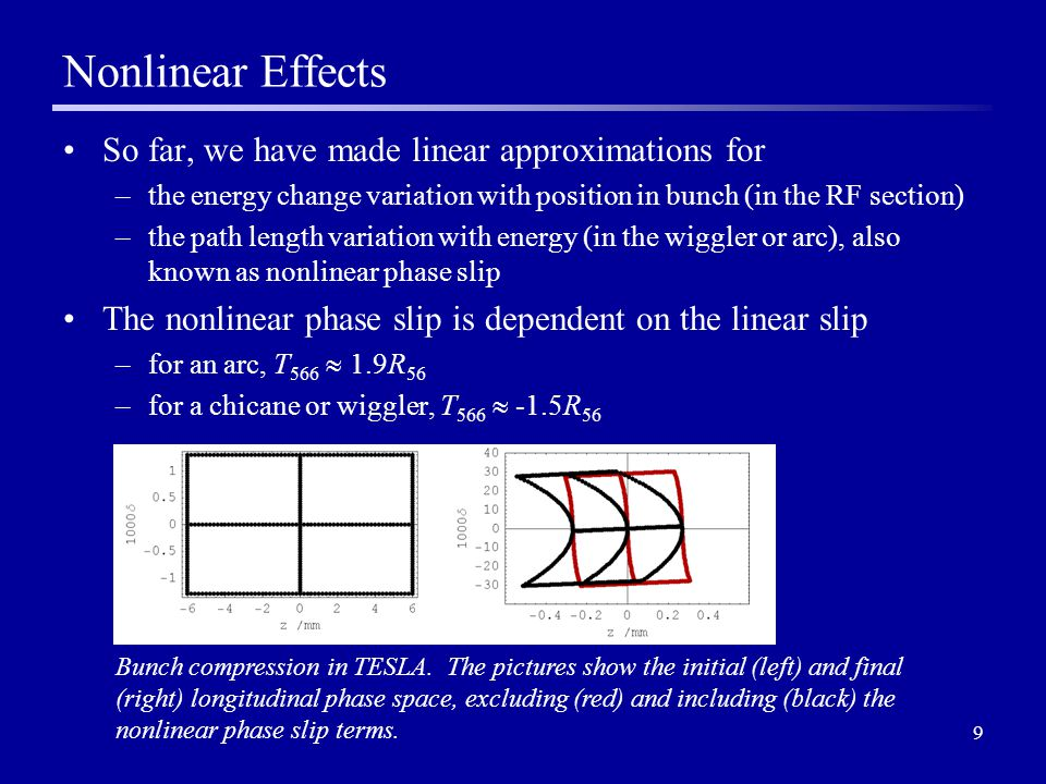 9 Nonlinear Effects So far, we have made linear approximations for –the energy change variation with position in bunch (in the RF section) –the path length variation with energy (in the wiggler or arc), also known as nonlinear phase slip The nonlinear phase slip is dependent on the linear slip –for an arc, T 566  1.9R 56 –for a chicane or wiggler, T 566  -1.5R 56 Bunch compression in TESLA.