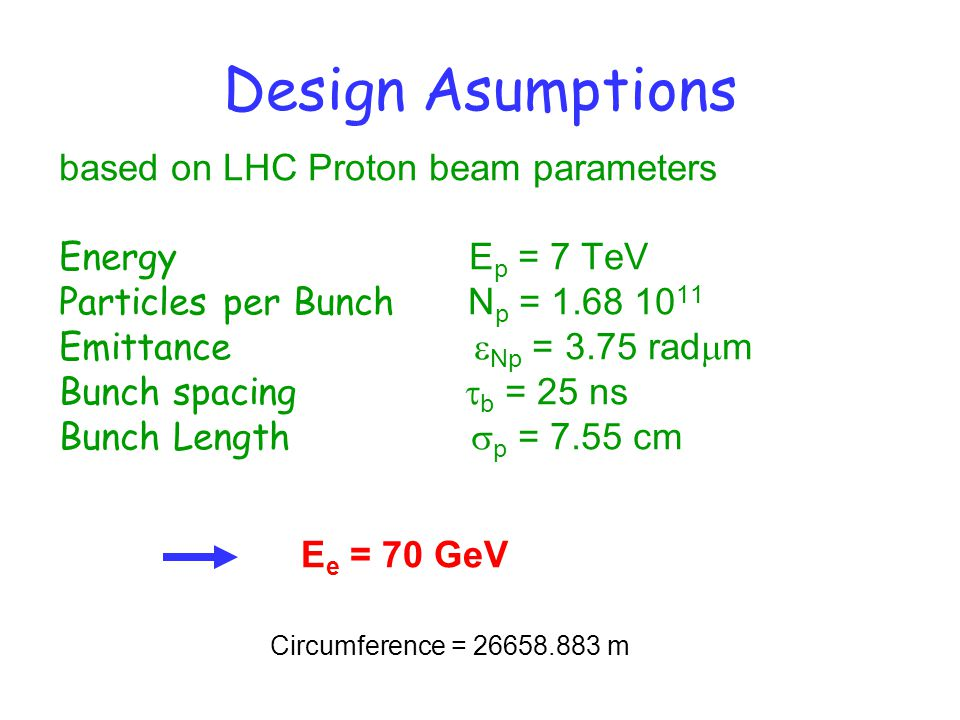 Luminosity Matched beam cross sections at IP  xp =  xe,  yp =  ye Lepton Beam-beam tune shift limit to be avoided With the proton beam brightness given by LHC, N p  p /  Np =3.2·10 20 m -1