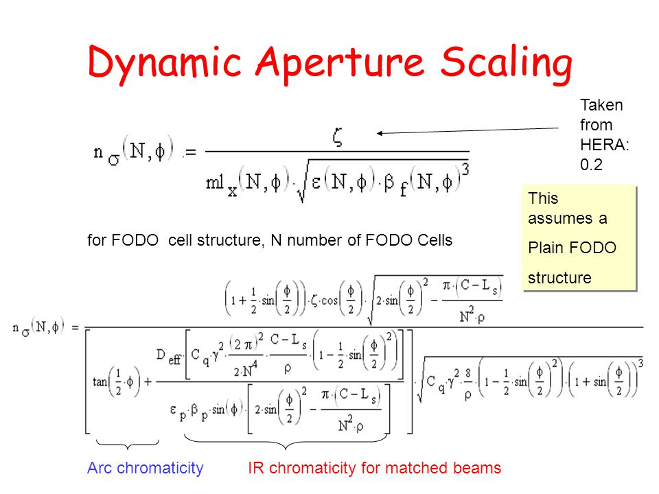 Dynamic Aperture Scaling Taken from HERA: 0.2 for FODO cell structure, N number of FODO Cells Arc chromaticityIR chromaticity for matched beams This a