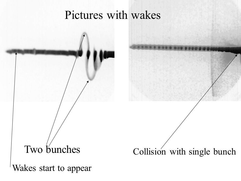 Pictures with wakes Collision with single bunch Two bunches Wakes start to appear