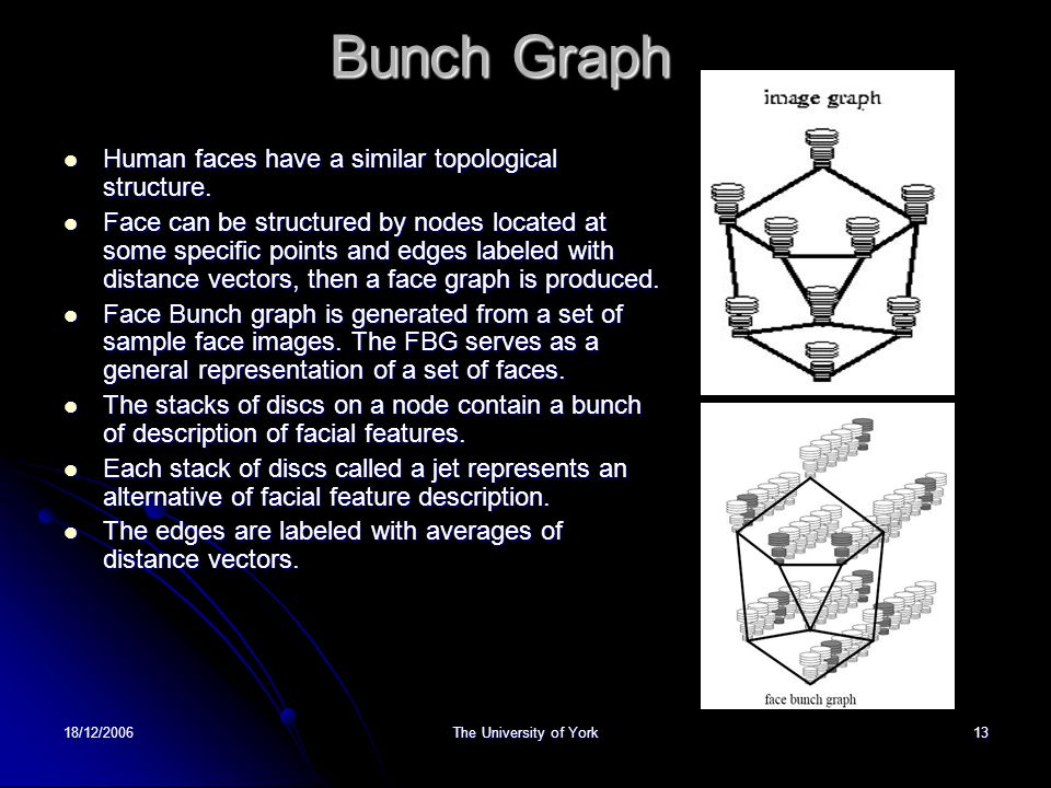18/12/2006The University of York13 Bunch Graph Human faces have a similar topological structure. Human faces have a similar topological structure. Fac