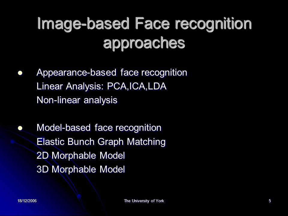 18/12/2006The University of York5 Image-based Face recognition approaches Appearance-based face recognition Appearance-based face recognition Linear A