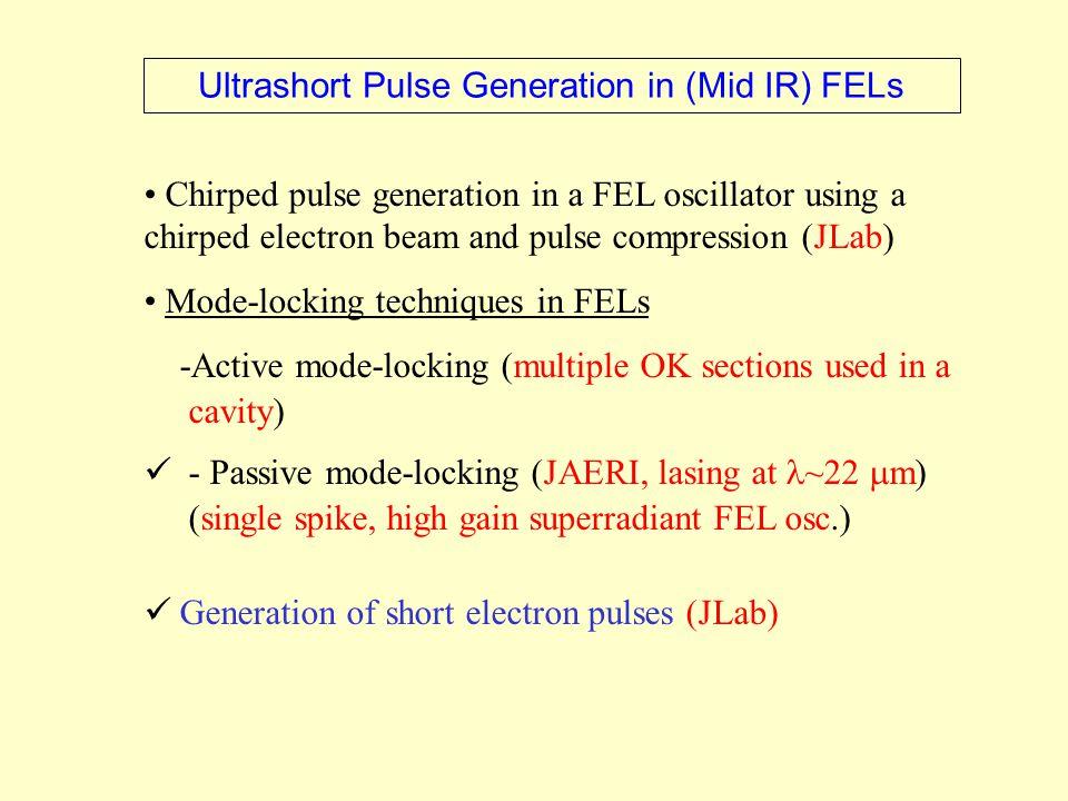 E ~ 60 MeV (NIR/MIR) E ~ 13 MeV (FIR) 135 pC pulses  z ~ 0.5 – 4 ps 10.7 MHz (21.4 MHz FIR) Parameter NIR FEL MIR FEL FIR FEL Wavelength (μm) 2.5 to 27 8 to >150 100 to 1100 Wawenum (cm −1 ) 400 to 4000 < 70 to 1300 9 to 100 FSU-NHMFL NIR/MIR/FIR (&broadband THz) FEL Proposal X MIR/FIR FIR NIR inclusion of a HHG based coherent X-Ray source ?