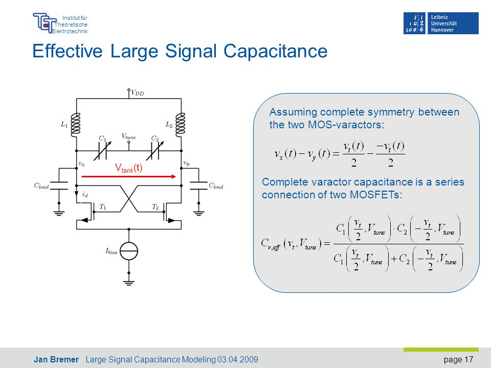 page 17 Institut für Theoretische Elektrotechnik Jan Bremer Large Signal Capacitance Modeling 03.04.2009 Effective Large Signal Capacitance V tank (t) Assuming complete symmetry between the two MOS-varactors: Complete varactor capacitance is a series connection of two MOSFETs: