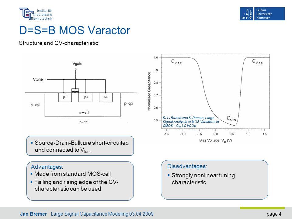 page 4 Institut für Theoretische Elektrotechnik Jan Bremer Large Signal Capacitance Modeling 03.04.2009 D=S=B MOS Varactor R.