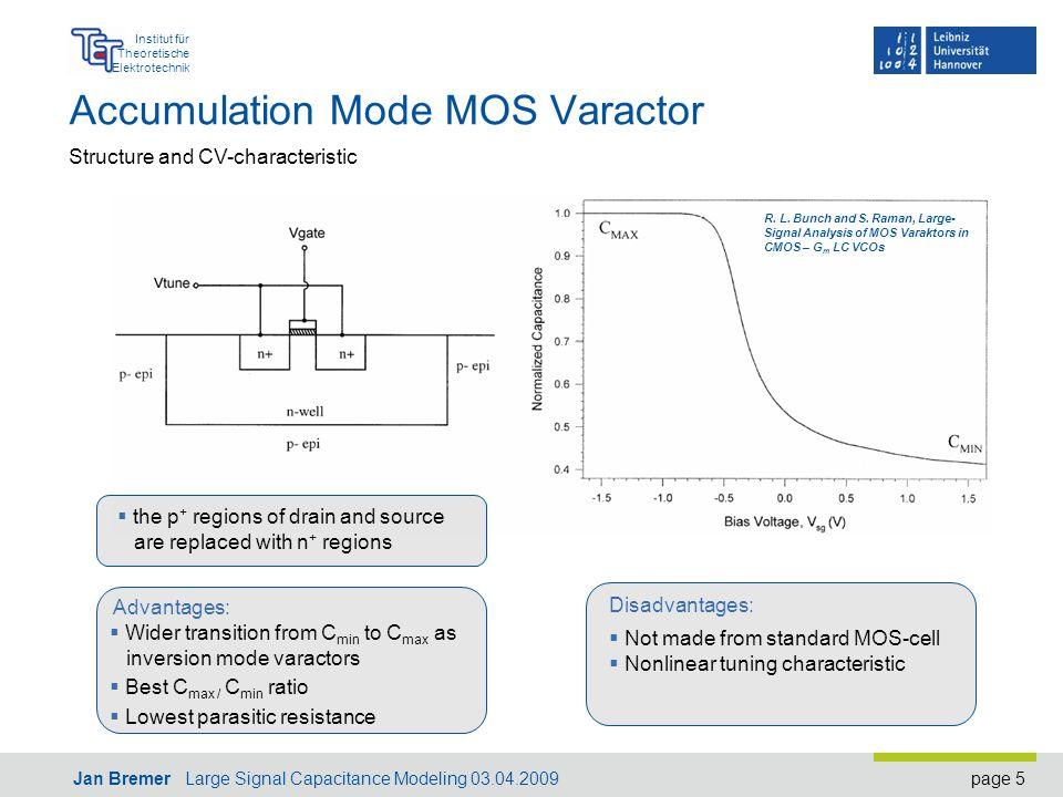 page 5 Institut für Theoretische Elektrotechnik Jan Bremer Large Signal Capacitance Modeling 03.04.2009 Accumulation Mode MOS Varactor R.