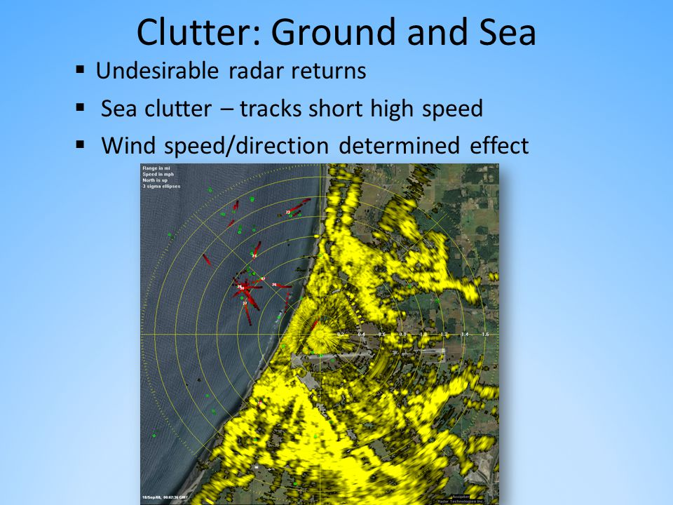 Clutter: Ground and Sea  Undesirable radar returns  Sea clutter – tracks short high speed  Wind speed/direction determined effect