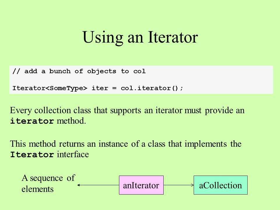 Using an Iterator // add a bunch of objects to col Iterator iter = col.iterator(); Every collection class that supports an iterator must provide an iterator method.