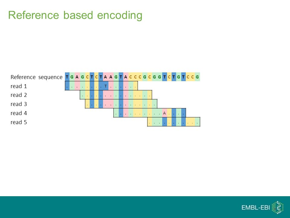 Reference based encoding Reference sequence TGAGCTCTAAGTACCCGCGGTCTGTCCG read 1........T......