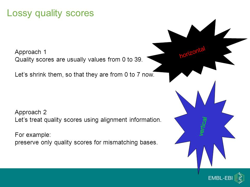Lossy quality scores Approach 1 Quality scores are usually values from 0 to 39.