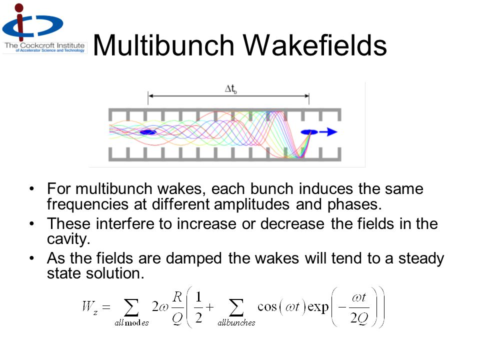 Multibunch Wakefields For multibunch wakes, each bunch induces the same frequencies at different amplitudes and phases. These interfere to increase or