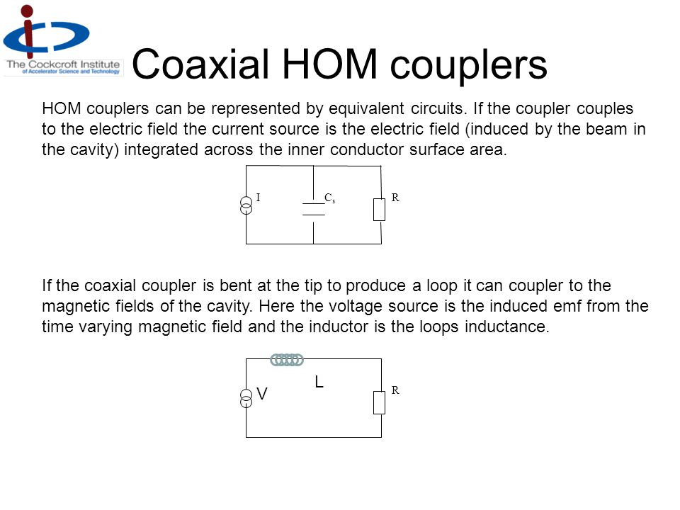 Coaxial HOM couplers ICsCs R HOM couplers can be represented by equivalent circuits. If the coupler couples to the electric field the current source i