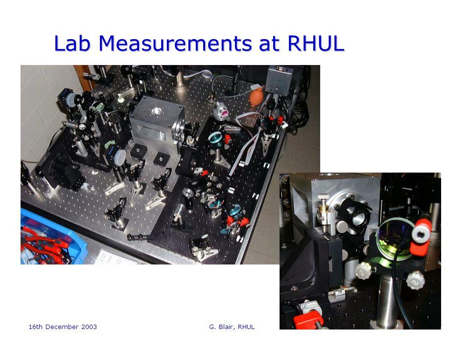 16th December 2003 G. Blair, RHUL12 Lab Measurements at RHUL