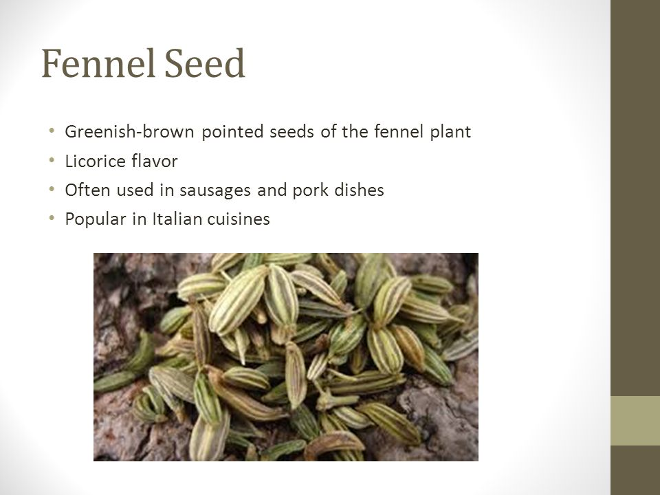 Fennel Seed Greenish-brown pointed seeds of the fennel plant Licorice flavor Often used in sausages and pork dishes Popular in Italian cuisines