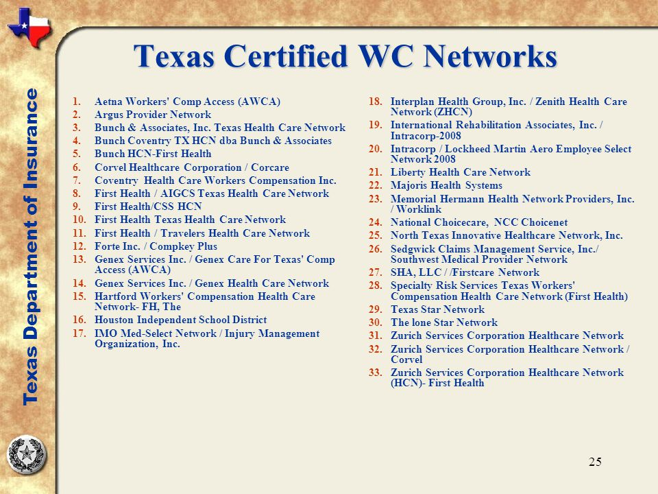 25 Texas Certified WC Networks 1.Aetna Workers' Comp Access (AWCA) 2.Argus Provider Network 3.Bunch & Associates, Inc. Texas Health Care Network 4.Bun