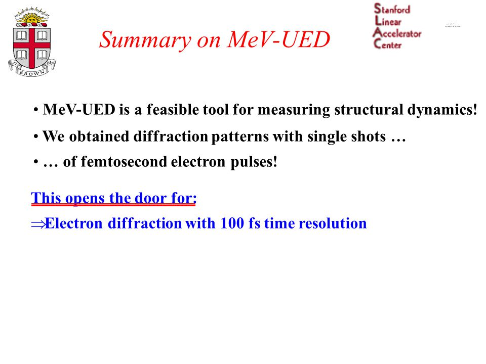 Summary on MeV-UED MeV-UED is a feasible tool for measuring structural dynamics! We obtained diffraction patterns with single shots … … of femtosecond