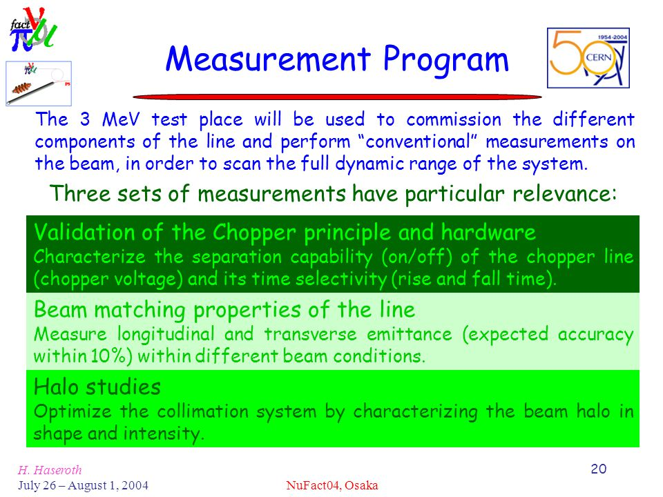 H. Haseroth July 26 – August 1, 2004 NuFact04, Osaka 20 Measurement Program The 3 MeV test place will be used to commission the different components o