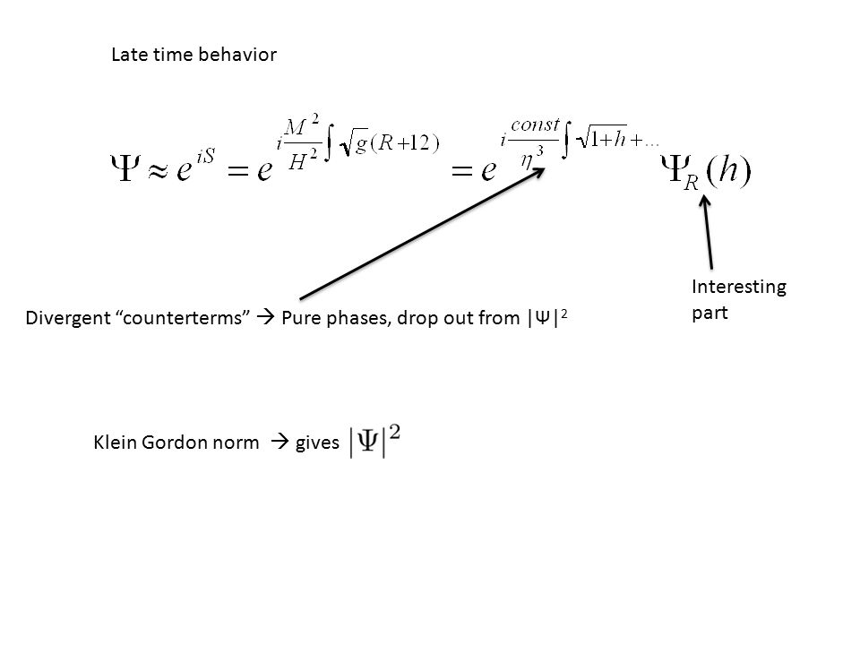 Divergent counterterms  Pure phases, drop out from |Ψ| 2 Interesting part Late time behavior Klein Gordon norm  gives