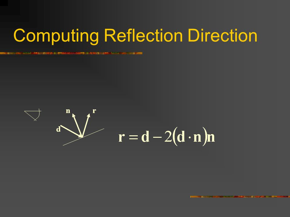 Computing Reflection Direction d nr