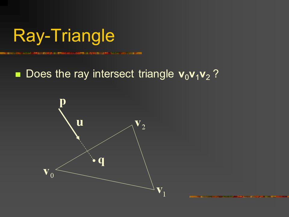 Ray-Triangle Does the ray intersect triangle v 0 v 1 v 2 ?