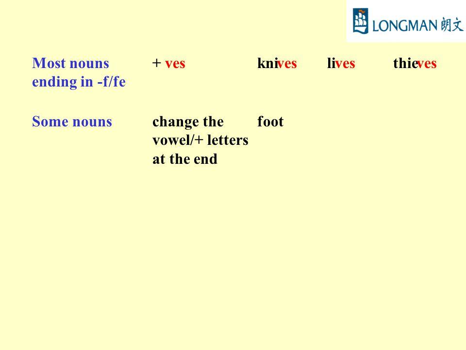 Most nouns ending in -f/fe + veskniveslivesthief