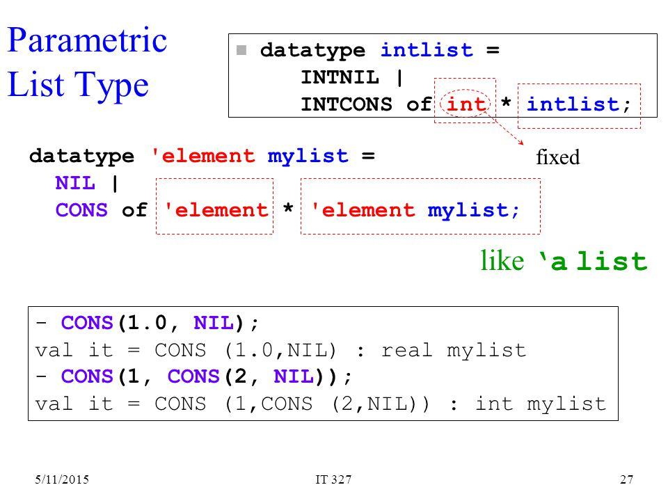 5/11/2015IT 32727 Parametric List Type like 'a list datatype element mylist = NIL | CONS of element * element mylist; - CONS(1.0, NIL); val it = CONS (1.0,NIL) : real mylist - CONS(1, CONS(2, NIL)); val it = CONS (1,CONS (2,NIL)) : int mylist n datatype intlist = INTNIL | INTCONS of int * intlist; fixed