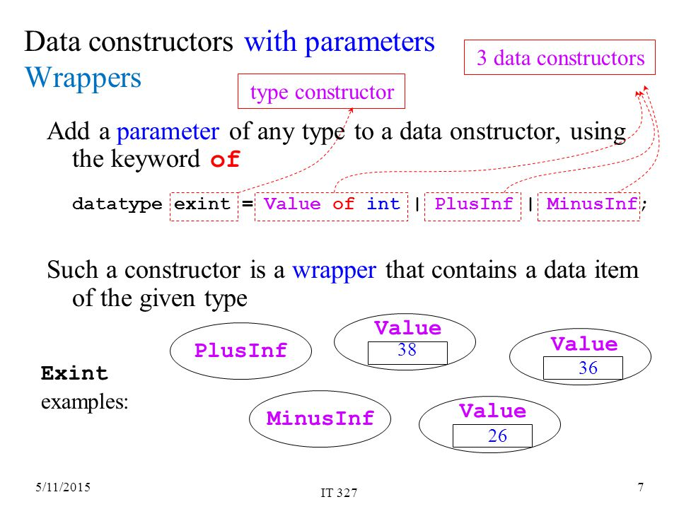 5/11/2015 IT 327 7 Data constructors with parameters Wrappers Add a parameter of any type to a data onstructor, using the keyword of datatype exint = Value of int | PlusInf | MinusInf; Such a constructor is a wrapper that contains a data item of the given type PlusInf Value 36 MinusInf Value 26 Value 38 Exint examples: 3 data constructors type constructor