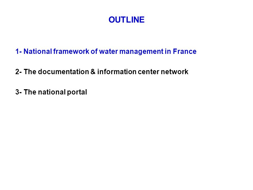 Organisational overview The main public institutional bodies for public water policy in France : The Ministry in charge of Ecology (MEDDTL) ONEMA Water Agencies in France (6)