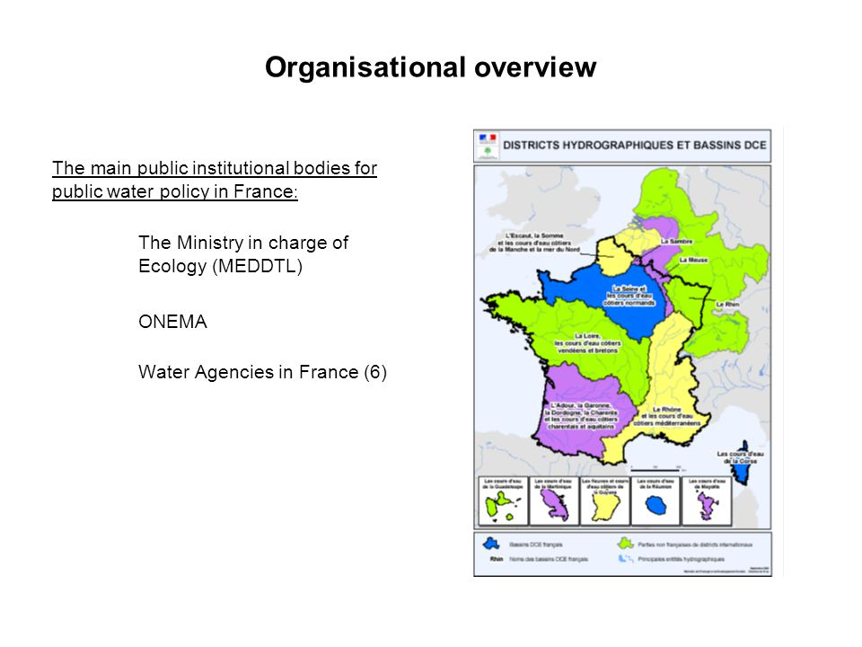 Water management in France  The 1964 Water Law set out 6 large catchment areas for water resources management.