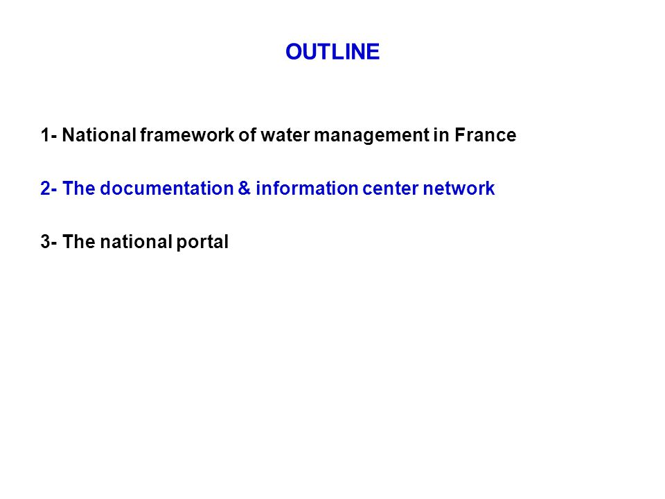 Origins : The documentation and information center network « Fontaine » A common bibliographic database: 1993 : Creation of the database Fontaine - contributors : water agencies + Ministry of Environment.