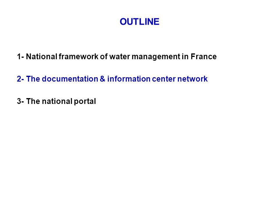 OUTLINE 1- National framework of water management in France 2- The documentation & information center network 3- The national portal