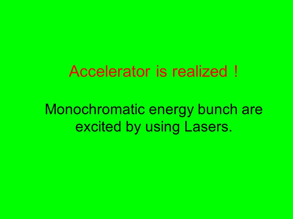 Accelerator is realized ! Monochromatic energy bunch are excited by using Lasers.