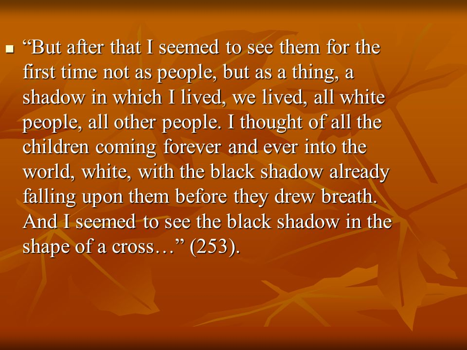 But after that I seemed to see them for the first time not as people, but as a thing, a shadow in which I lived, we lived, all white people, all other people.